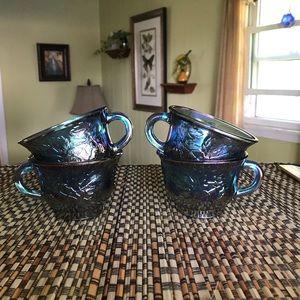 Vintage blue carnival glass punch glasses.